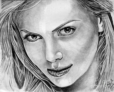 Charlize Wall Art - Drawing - Charlize Theron by Bill Richards