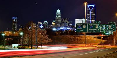 Charlotte Skyline Photograph - Charlotte At Night by Frozen in Time Fine Art Photography
