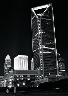 Charlotte Skyline Photograph - Charlotte Black And White Night by Frozen in Time Fine Art Photography
