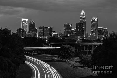 Charlotte Black And White Skyline Art Print by Robert Loe