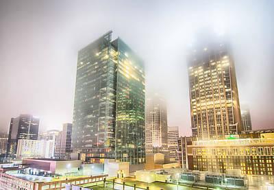 Photograph - Charlotte City Skyline Night Scene In Fog by Alex Grichenko