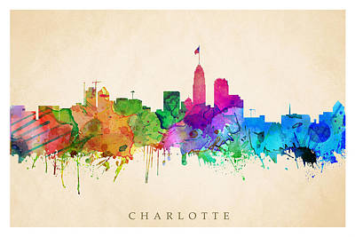 Digital Art - Charlotte Cityscape by Steve Will
