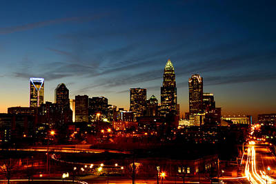 Charlotte Skyline Photograph - Charlotte Dusk Lights by Paul Scolieri