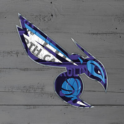 North Carolina Mixed Media - Charlotte Hornets Basketball Team Logo Vintage Recycled North Carolina License Plate Art by Design Turnpike