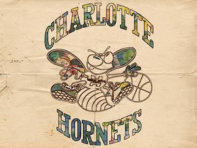 Painting - Charlotte Hornets Poster Art by Florian Rodarte