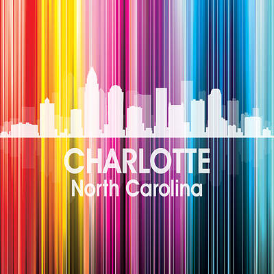 Abstract Skyline Mixed Media - Charlotte NC 2 Squared by Angelina Tamez