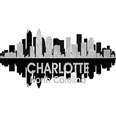 Abstract Skyline Mixed Media - Charlotte NC 4 Squared by Angelina Tamez