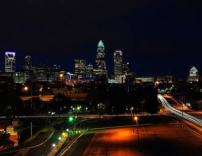 Featured Images Digital Art - Charlotte Nc At Night by Chris Flees
