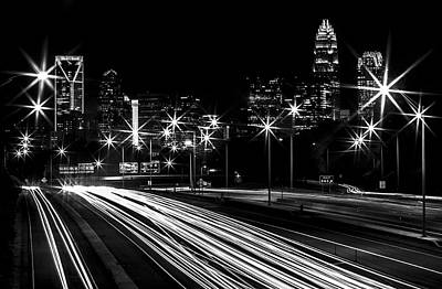 Charlotte Skyline Photograph - Charlotte Flow B/w by Chris Austin