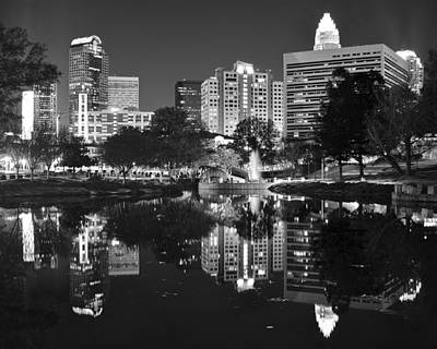 Charlotte Nc Photograph - Charlotte Reflecting In Black And White by Frozen in Time Fine Art Photography