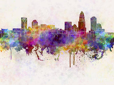 Charlotte Skyline In Watercolor Background Art Print