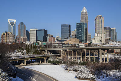 Charlotte Skyline Photograph - Charlotte Snow by Chris Austin
