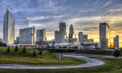 Charlotte Skyline Photograph - Charlotte Sunrise by Chris Austin
