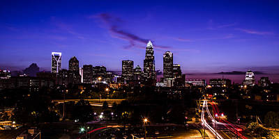 Charlotte Skyline Photograph - Charlotte Time Lapse Dusk by Paul Scolieri