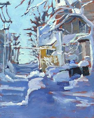 Art Print featuring the painting Charlottetown Winter Lane by Darlene Young