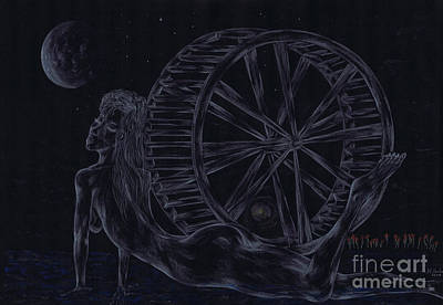 Art Print featuring the drawing Charm Of The Moon. by Kenneth Clarke