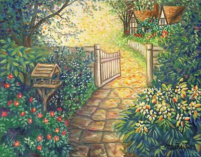 Garden Path Painting - Charming Hideaway by Linda Mears