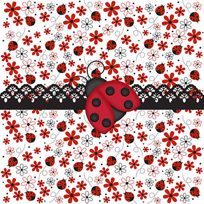 Ladybug Digital Art - Charming Ladybugs by Debra  Miller