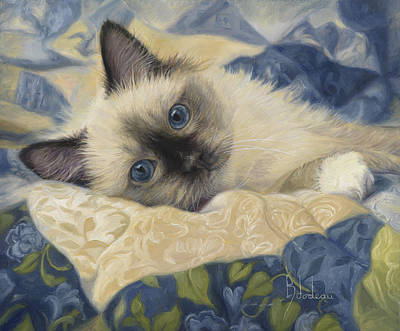 Felines Painting - Charming by Lucie Bilodeau