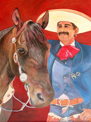 Vaquero Painting - Charro And His Horse by Jodie  Scheller