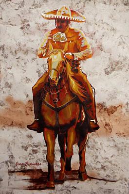 Handmade Paper Painting - Charro by J- J- Espinoza