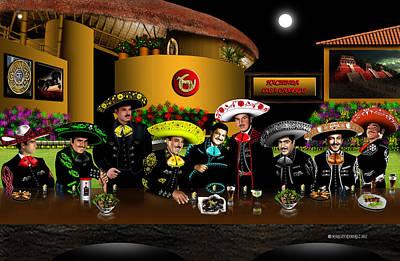 Mexicano Painting - Charros by Marlon Ramirez