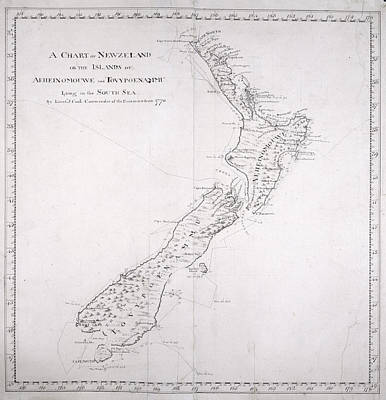 Cartography Photograph - Chart Of New Zealand by British Library