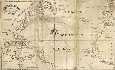 Nautical Chart Photograph - Chart Of The Atlantic Ocean, 1802 by United States Naval Observatory