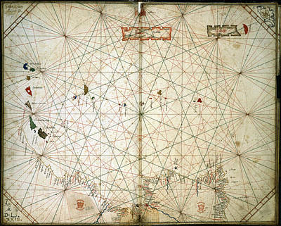 Azores Photograph - Chart Of The Eastern Atlantic by British Library