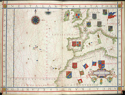 Azores Photograph - Chart Of Western Europe by British Library