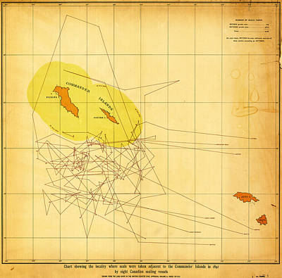 Chart Painting - Chart Showing Where The Seals Were Taken 1892 by MotionAge Designs
