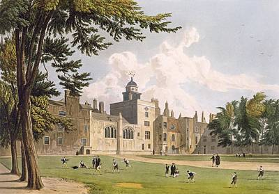 Cricket Drawing - Charter House From The Play Ground by William Westall