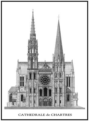World Heritage Digital Art - Chartres Cathedral by Daniel Hagerman
