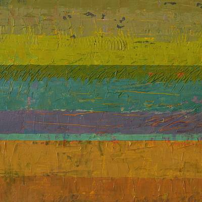 Abstract Landscape Painting - Chartreuse Line by Michelle Calkins