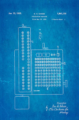 Calculate Photograph - Chase Calculating Machine Patent Art 1932 Blueprint by Ian Monk