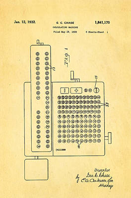 Calculate Photograph - Chase Calculating Machine Patent Art 1932 by Ian Monk