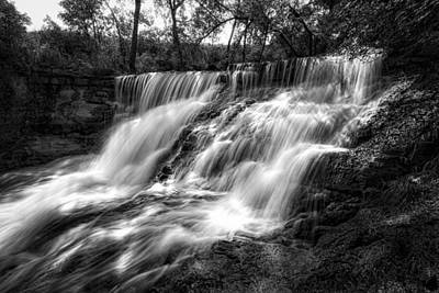 Photograph - Chase County Falls In Black And White by Scott Bean