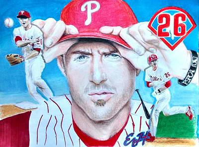 Baseball Drawings Mixed Media - Chase Utley by Ezra Strayer