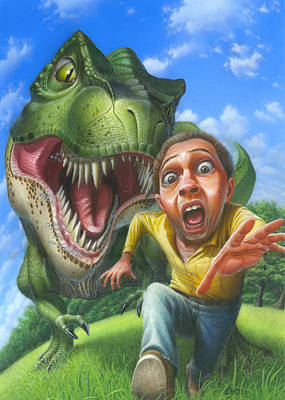 Chased By A Tyrannosaurus Rex Blank Greeting Card Original by Walt Curlee