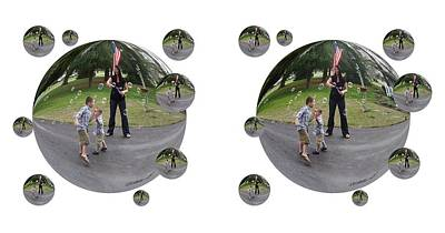 Chasing Bubbles - Cross Your Eyes And Focus On The Middle Image That Appears Print by Brian Wallace