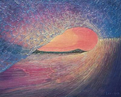 Surfing Art Painting - Chasing Daylight by Nathan Ledyard