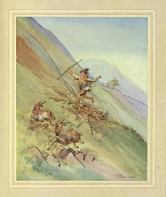 Chasing Goats Print by British Library