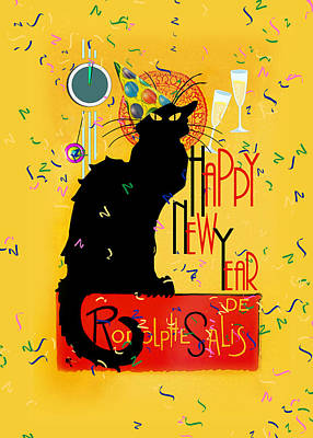 Spoof Digital Art - Chat Noir New Years Party Countdown by Gravityx9  Designs