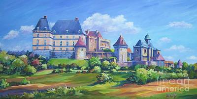 Aquitaine Painting - Chateau Biron  Dordogne by John Clark