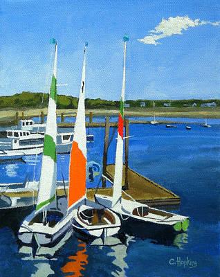 Chatham Lighthouse Painting - Chatham Harbor Boats Chatham Cape Cod Massachusetts by Christine Hopkins