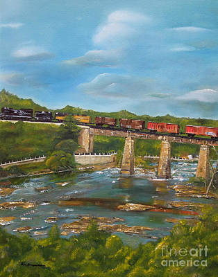 Painting - Chattahoochee Choo Choo -  Train On Trestle - Columbus Ga by Jan Dappen