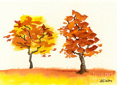 Painting - Chatting Autumn Trees by Beverly Claire Kaiya