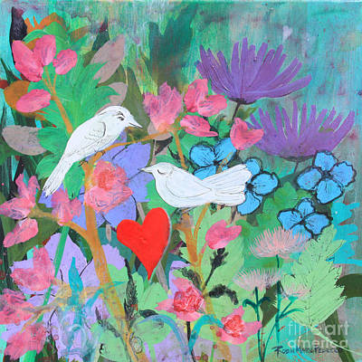 Painting - Chaucer's Love Birds by Robin Maria Pedrero