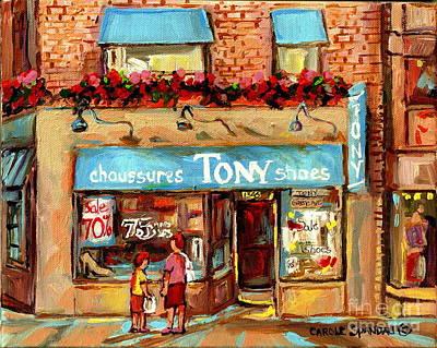 Painting - Chaussures Tony Shoes On Greene Westmount Vintage Storefront Paintings Cityscene Montreal Art  by Carole Spandau