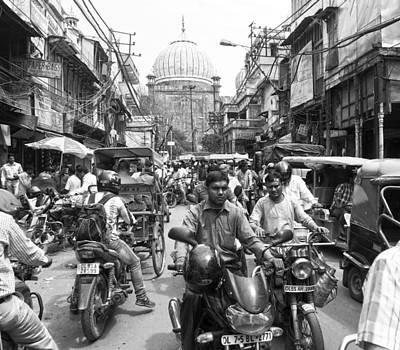 Photograph - Chawri Bazar Road Bw by C H Apperson
